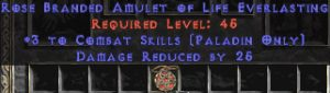 Paladin Amulet - 3 Combat Skills & 25 PDR