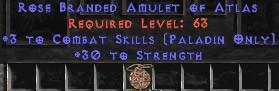 Paladin Amulet - 3 Combat Skills & 30 Str