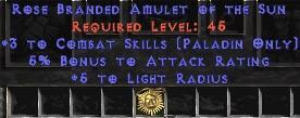 Paladin Amulet - 3 Combat Skills & 5% AR
