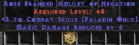 Paladin Amulet - 3 Combat Skills & 6 MDR