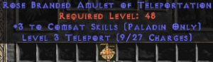 Paladin Amulet - 3 Combat Skills & Teleport
