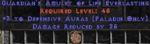 Paladin Amulet - 3 Defensive Auras & 25 PDR