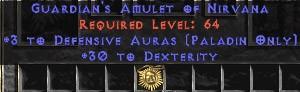 Paladin Amulet - 3 Defensive Auras & 30 Dex