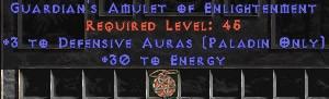 Paladin Amulet - 3 Defensive Auras & 30 Energy