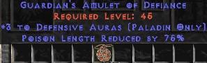 Paladin Amulet - 3 Defensive Auras & 75% PLR