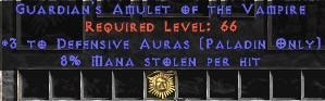 Paladin Amulet - 3 Defensive Auras & 8% ML
