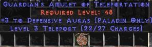 Paladin Amulet - 3 Defensive Auras & Teleport