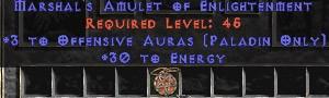 Paladin Amulet - 3 Offensive Auras & 30 Energy