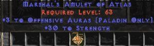 Paladin Amulet - 3 Offensive Auras & 30 Str
