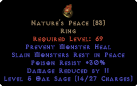 Nature's Peace 30 Poison Resist / 11 Damage Reduced - Perfect