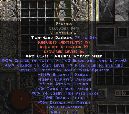 Phoenix Crusader Bow - 415% ED - 15/3 Base