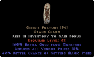 Gheed's Fortune - 40% MF & 15% RVP & 160% GF - Perfect