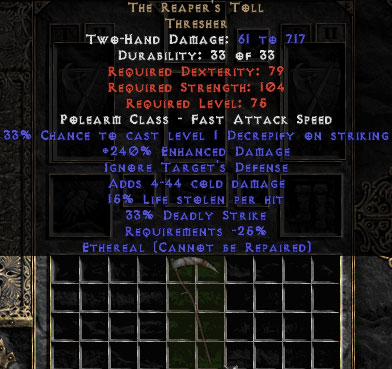 The Reaper's Toll - Ethereal - 240% ED & 15% LL - Perfect