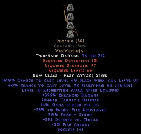 Phoenix Crusader Bow - 380-399% ED