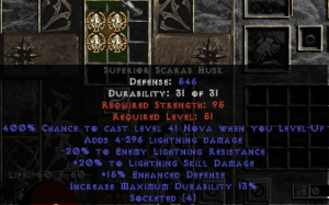 =+20/-20 Lightning Facet Level-Up Scarab Husk