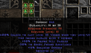 =+20/-20 Poison Facet Level-Up Scarab Husk