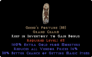 Gheed's Fortune 35-39% mf +160% extra gold +10-14% RVP