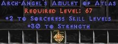 Sorceress Amulet - 2 All Sorc Skills & 30 Str