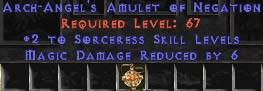 Sorceress Amulet - 2 All Sorc Skills & 6 MDR