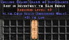 Sorceress Cold Skills w/ 21-29 Life GC