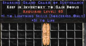 Sorceress Lightning Skills w/ 31-34 Life GC