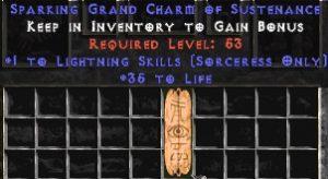 Sorceress Lightning Skills w/ 35 Life GC