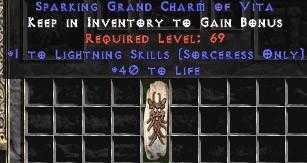 Sorceress Lightning Skills w/ 40 Life GC