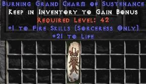 Sorceress Fire Skills w/ 21-29 Life GC