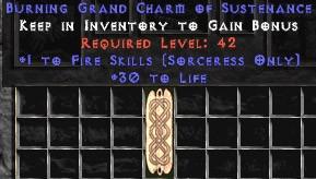 Sorceress Fire Skills w/ 30 Life GC