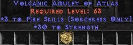 Sorceress Amulet - 3 Fire Spells & 30 Str