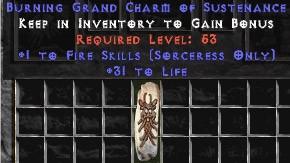 Sorceress Fire Skills w/ 31-34 Life GC