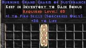 Sorceress Fire Skills w/ 35 Life GC
