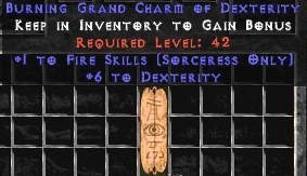 Sorceress Fire Skills w/ 6 Dex GC