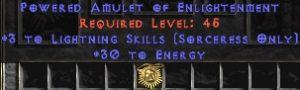 Sorceress Amulet - 3 Lightning Spells & 30 Energy