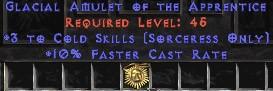 Sorceress Amulet - 3 Cold Spells & 10% FCR