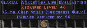 Sorceress Amulet - 3 Cold Spells & 25 PDR