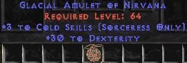 Sorceress Amulet - 3 Cold Spells & 30 Dex