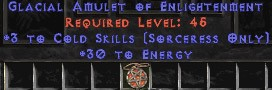 Sorceress Amulet - 3 Cold Spells & 30 Energy