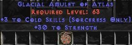 Sorceress Amulet - 3 Cold Spells & 30 Str