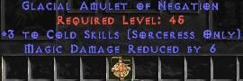 Sorceress Amulet - 3 Cold Spells & 6 MDR
