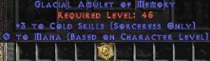 Sorceress Amulet - 3 Cold Spells & 0.75 MPL