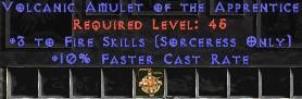 Sorceress Amulet - 3 Fire Spells & 10% FCR