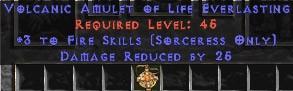Sorceress Amulet - 3 Fire Spells & 25 PDR
