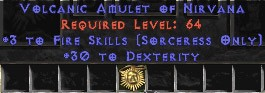 Sorceress Amulet - 3 Fire Spells & 30 Dex