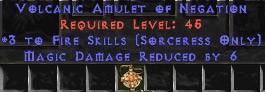 Sorceress Amulet - 3 Fire Spells & 6 MDR