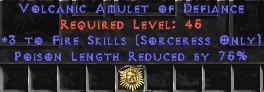 Sorceress Amulet - 3 Fire Spells & 75% PLR