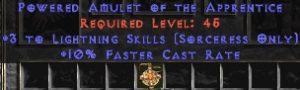 Sorceress Amulet - 3 Lightning Spells & 10% FCR