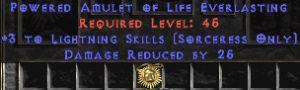 Sorceress Amulet - 3 Lightning Spells & 25 PDR
