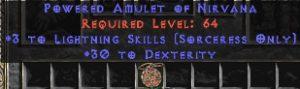 Sorceress Amulet - 3 Lightning Spells & 30 Dex