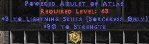 Sorceress Amulet - 3 Lightning Spells & 30 Str